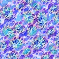 Casual summer patterns in blue and purple with floral sketch Royalty Free Stock Photo
