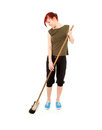 Casual teenage girl sweeping floor, full length Royalty Free Stock Photo