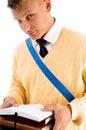 Casual teenager preparing for school Stock Photo