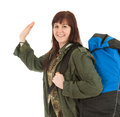Casual tourist girl with backpack Royalty Free Stock Image