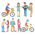 Casual urban young people bicycle student flat vector people