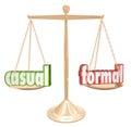 Ležérní proti formální slova měřidlo neformální relaxovat nebo oficiální černý