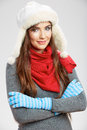Casual winter style yong woman portrait. Girl stud Royalty Free Stock Photo