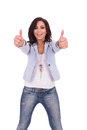 Casual woman double thumbs up Royalty Free Stock Photo