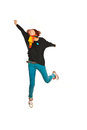image photo : Casual woman jumping