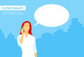 Casual woman smart phone talk chat box communication flat vector illustration Royalty Free Stock Photo