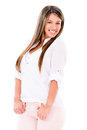 Casual woman smiling and having fun isolated over white Stock Photography