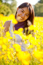 Casual woman smiling outdoors Royalty Free Stock Photo