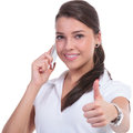 Casual woman thumb up phone young showing sign while on isolated on white background Stock Photography