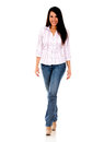 Casual woman walking Stock Image