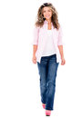 Casual woman walking beauiful isolated over a white background Royalty Free Stock Photography