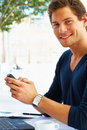 Casual Young Man on the Phone Royalty Free Stock Photography
