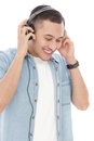 Casual young man wearing headphones Royalty Free Stock Photo