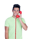 Casual young men calling by phone man isolated on white background Stock Image