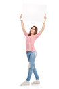 Casual young woman holding a white board Royalty Free Stock Photo