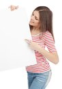 Casual young woman holding a white board Royalty Free Stock Photography