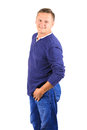 Casually dressed middle aged man in blue sideview Royalty Free Stock Photo