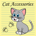 Cat accessories means pets pedigree and felines representing product Royalty Free Stock Photos