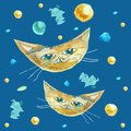 Cat as the moon on a blue background. Children`s drawing of animals