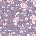 Cat baby seamless pattern illustration purple pastel color background mushroom love food fish fishes cute flower Royalty Free Stock Photography
