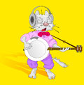 Cat with banjo yellow background Stock Photography