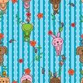Cat bear mouse dog frog rabbit vertical seamless pattern