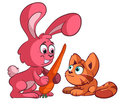 Cat and big rabbit Royalty Free Stock Photo