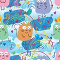 Cat and bird music note blue glitter seamless pattern