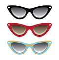 Cat black, red and blue eyeglasses vector illustra Royalty Free Stock Photo