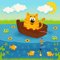 Cat On A Boat Fishing In A Pond