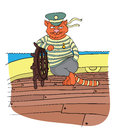 Cat boatswain at the helm of the ship, vector illustration.