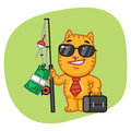 Cat Businessman Holding Fishing Rod with Money