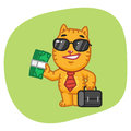 Cat Businessman Holding Suitcase and Money