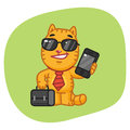 Cat Businessman Holding Suitcase and Phone