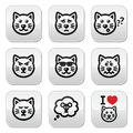 Cat buttons set happy sad angry isolated on white vector of cute characters expressing anger happiness Royalty Free Stock Photography