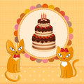 Cat cake illustration vektor Royalty Free Stock Image