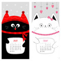Cat calendar 2017. Cute funny cartoon character set. January February winter month.