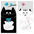 Cat calendar 2017. Cute funny cartoon character set. May June spring summer month. Royalty Free Stock Photo