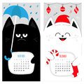 Cat calendar 2017. Cute funny cartoon character set. November December autumn winter month.