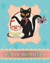 Cat card funny vector birthday greeting Royalty Free Stock Photo