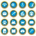 Cat care tools icons blue circle set Royalty Free Stock Photo