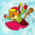Cat cartoon bobsledding Stock Photo