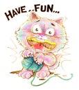 Cat cartoon playing yarn pencil color