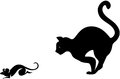 A cat catching mouse silhouettes Stock Photos