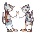 Cat and champagne. Party illustration. Stock Photography