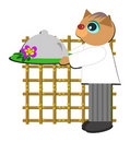 Cat Chef Serving a Meal Stock Images