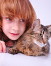 Cat and child Royalty Free Stock Photo