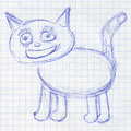 Cat. Children's drawing in school notebook Royalty Free Stock Photo