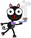 Cat and coffee a cartoon illustration of a waiter serving Stock Photos