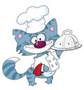 Cat the cook with tray Stock Image